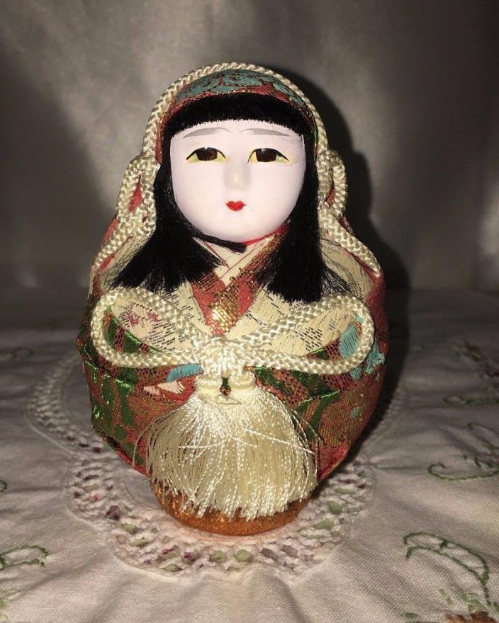 Japanese GOFUN Wedding Geisha round doll  figurine collectible vintage Asian