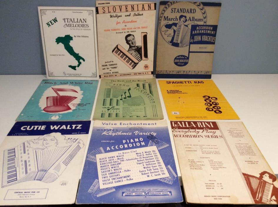 Lot of 27 Vintage Accordion Sheet Music Rag Polka Waltz