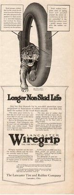 1916 Lancaster Tire Rubber Company OH Wiregrip Antique Motor Car Tire Tiger Ad