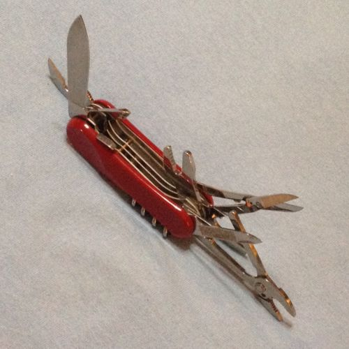 Wenger Swiss Army Knife 85mm Red EVO Wrench, Scissors, Lock Blade, Phillips ...