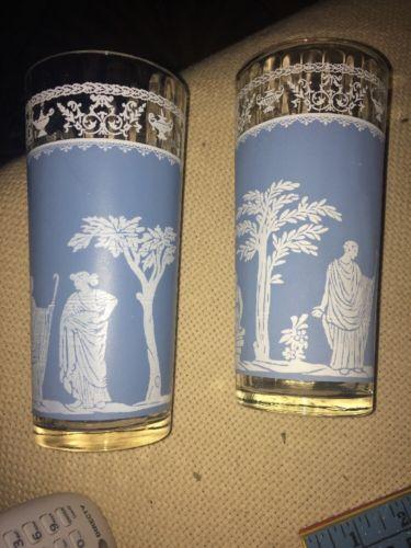 Set Of 2 Jasperware Jeanette Hellenic Vintage Ice Tea Glass Wedgwood Blue
