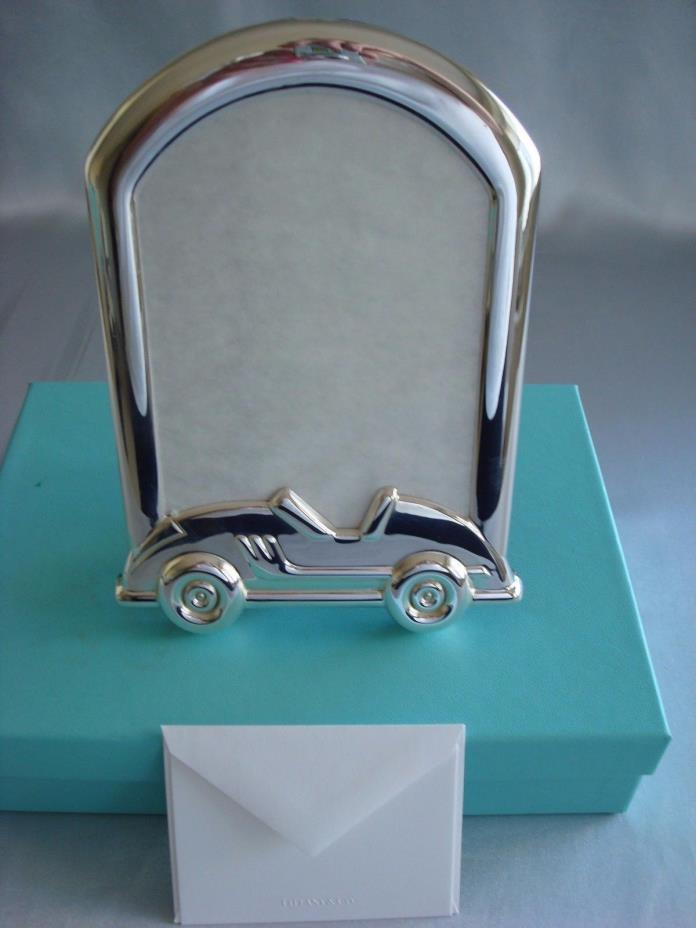 TIFFANY sterling silver ~ 'RACECAR' PICTURE FRAME BABY CHILD ~ ADORABLE!!