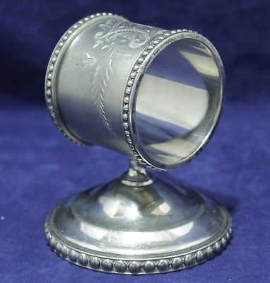 Antique Silver Plate Napkin Ring - Cylinder On Base - Toronto Standard Silver