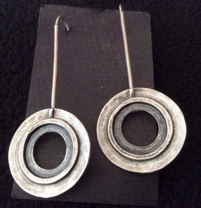 Silpada Long Hook Hammered Disc Earrings