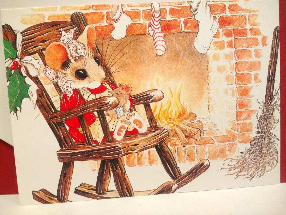 Priscilla Hillman Mouse Mice Christmas Card Rocking Chair Fireplace 1980s Unused