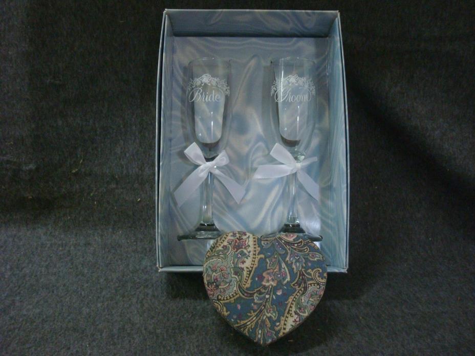 Bride And Groom Toast Glasses, Heart