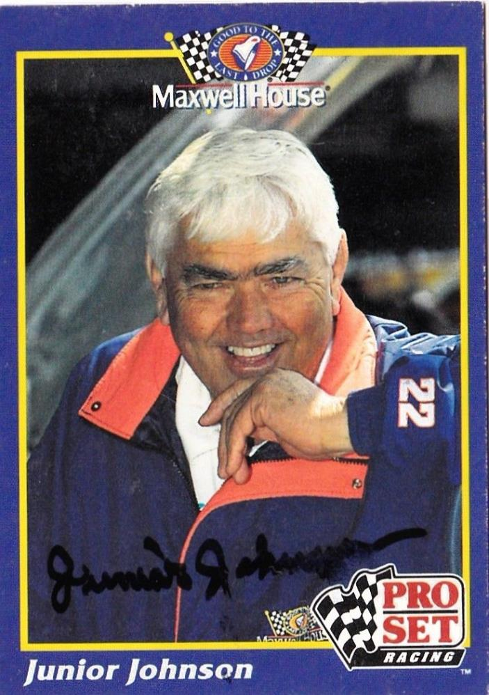 Junior Johnson signed 1992 Pro Set trading card NASCAR