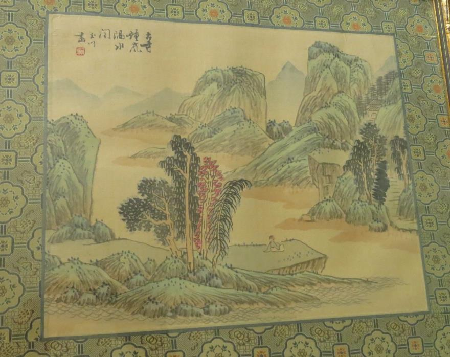Vintage Chinese Water Color Painting on Rice Paper River Mountains Nature