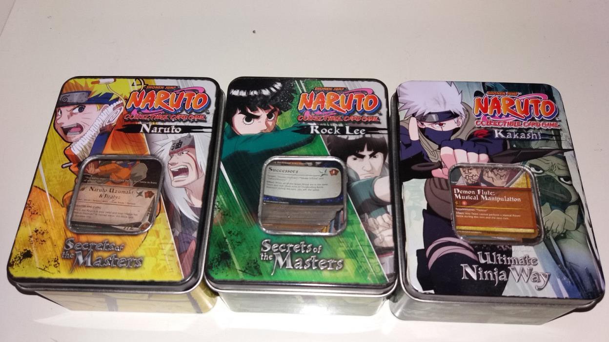 Naruto CCG 3 Tin Set Kakashi Ultimate Ninja Way Rock Lee Naruto Secrets Masters