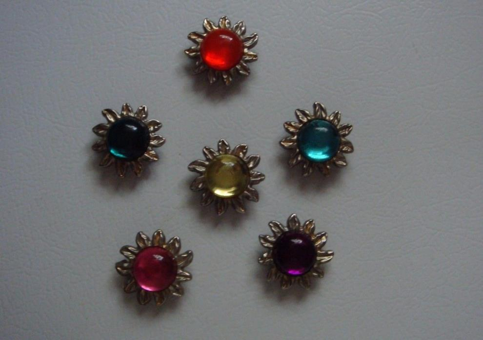 Lot of 6 Multi-color Goldtone Sunburst 1.5