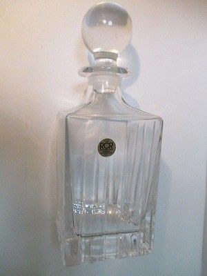 Royal Crystal Rock Whisky Decanter Straight line Cut Square Bottom Lead Crystal