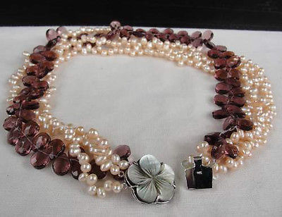 925 Sterling Silver, Freshwater Pearl Mother-of-Pearl NECKLACE great GIFT