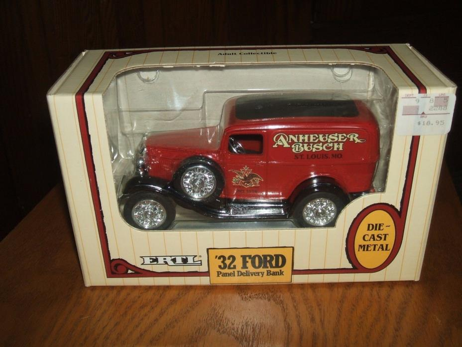 1991 ERTL 1932 FORD PANEL DELIVERY TRUCK ANHEUSER BUSCH COIN BANK