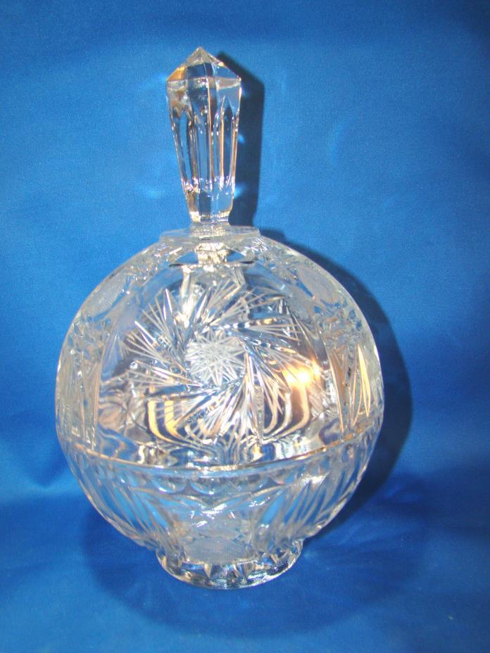 Crystal Covered Candy Dish Footed Pinwheel Star of David Bowl Lid 10