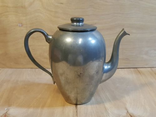 Vintage CORNWALL PEWTER Gooseneck COFFEE POT Teapot w/ Lid ~ Connecticut