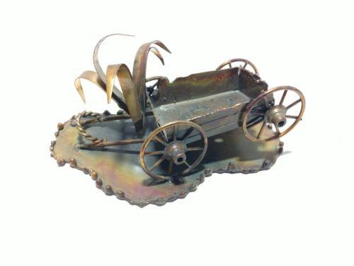 1974 Copper Wagon and Cornstalk Figurine