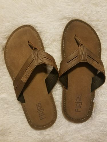 Flojos Men's Flip Flops, Sandals, Slippers  Cognac Brown  Size 10