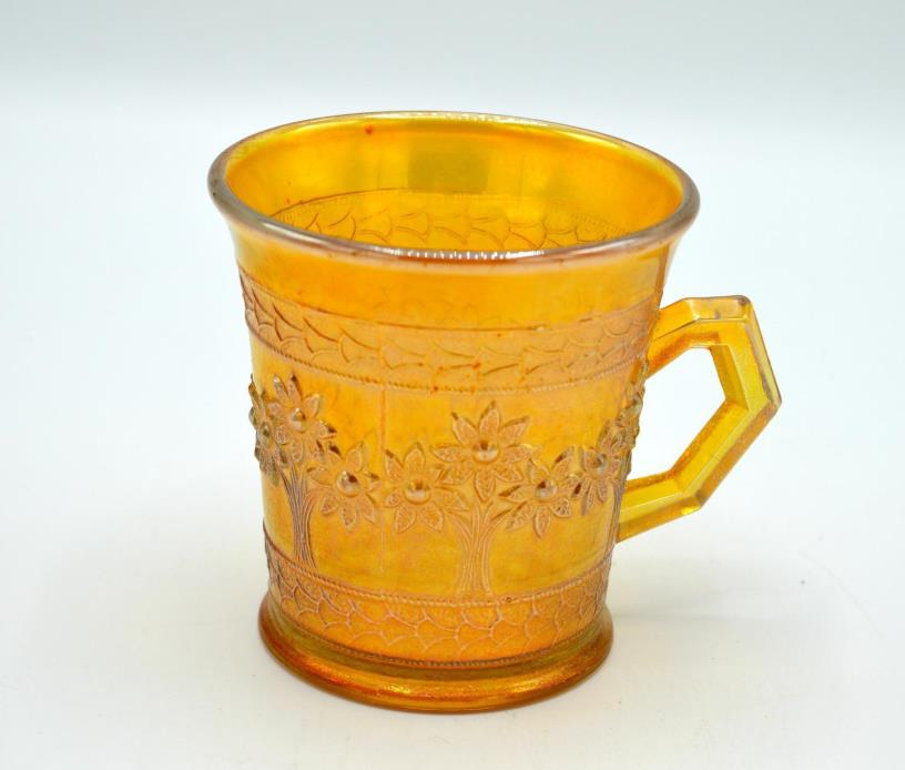 Vintage Fenton Amber Carnival Glass Mug - Orange Tree Pattern