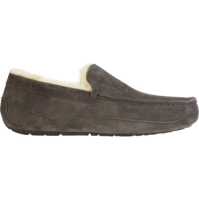 UGG Australia Men's Ascot Slippers Moccasin Suede Shearling Shoes Gray Sz 11 NIB