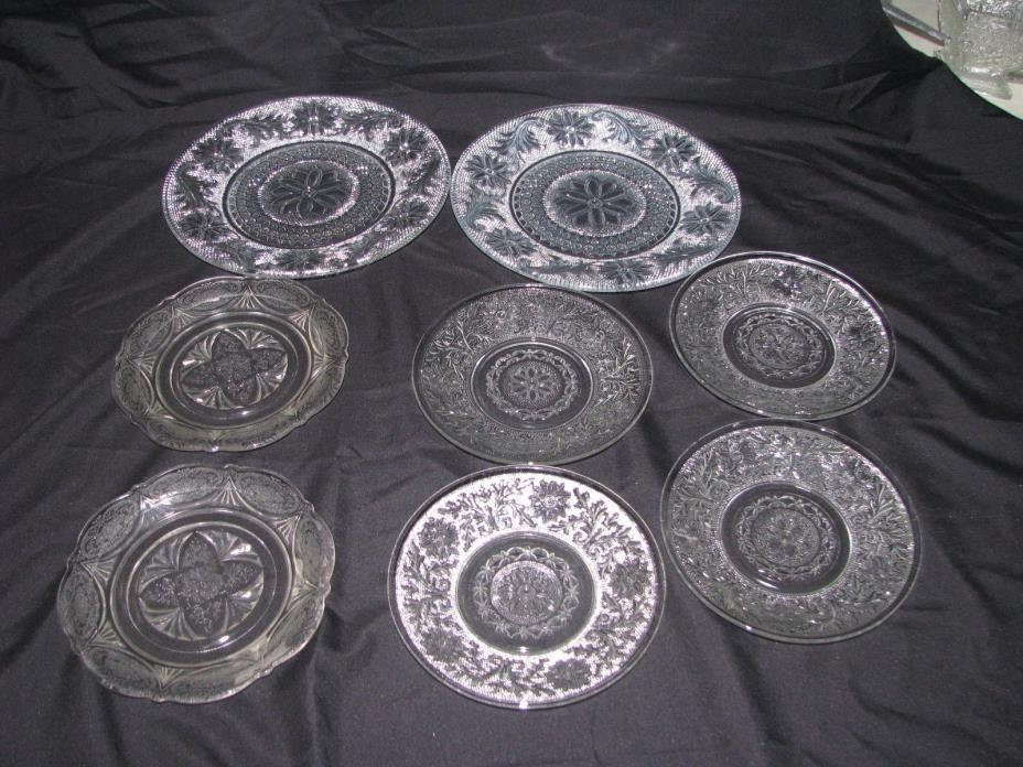 Lot of 8 Clear Depression Glass Plates Dishes Indiana Anchor Hocking Hazel Atlas