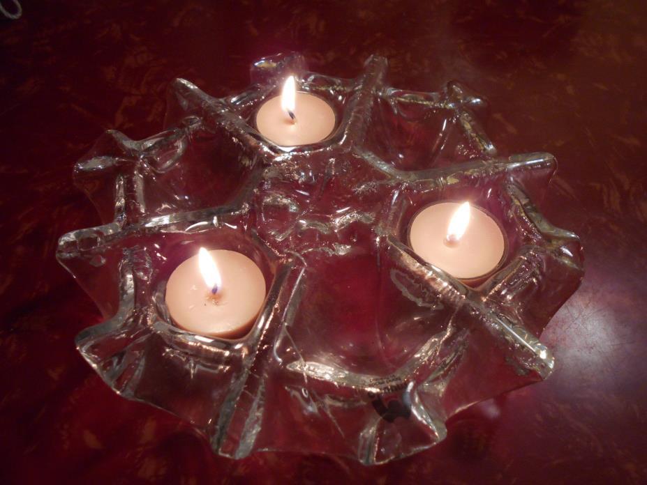 Muurla Handmade Art Glass of Finland 3 Tealight Candle Holder 8.5