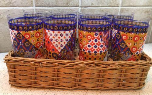 Vintage Pasinski Washington Drinking Glasses Quilt Pattern - Set 8 in Basket