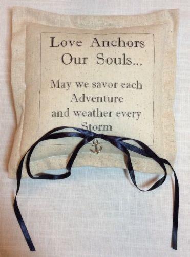 New Wedding Ring Bearer Pillow NAUTICAL ANCHOR NAVY Rustic Linen 7.5