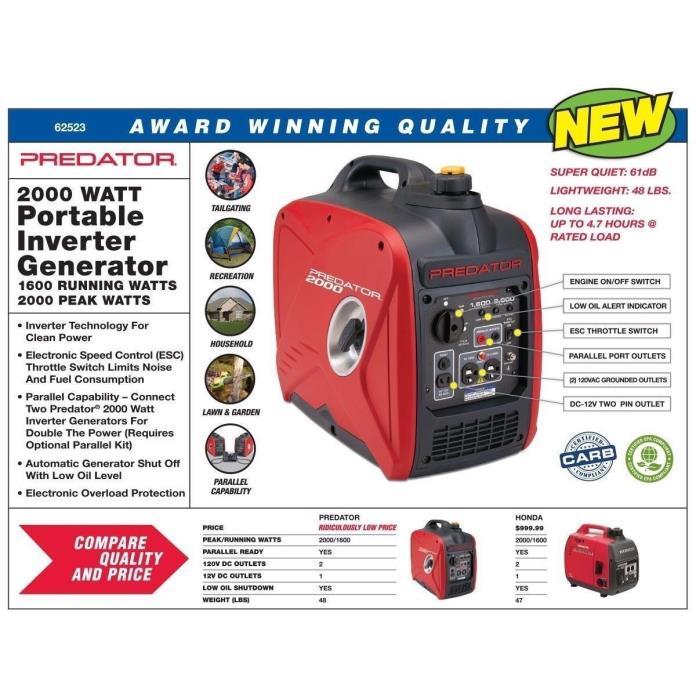 Free Ship Predator 2000 Watt Generator Inverter, Super Quiet,