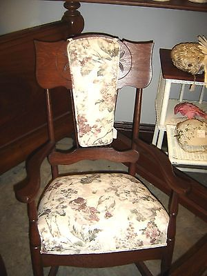 Antique Quarter-Sawn Oak Pattern Back Rocker with Upholstered seat.8360