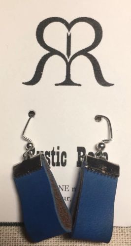 Handmade Leather Loop Dangle Wire Earrings In Classic Design Turquoise & Silver