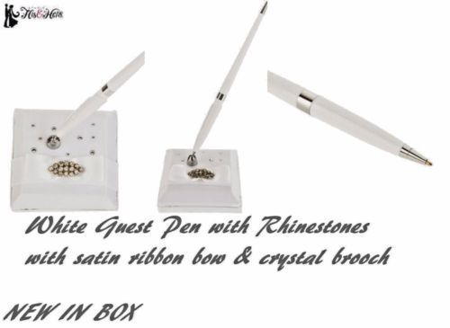 Wedding Guest Register Pen & Holder Crystal  Rhinestones & White Satin NIB  $29