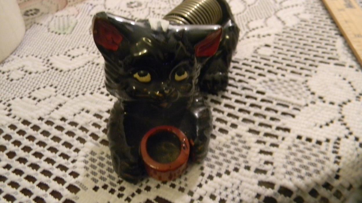 Vintage Black Cat Inkwell and letter Holder