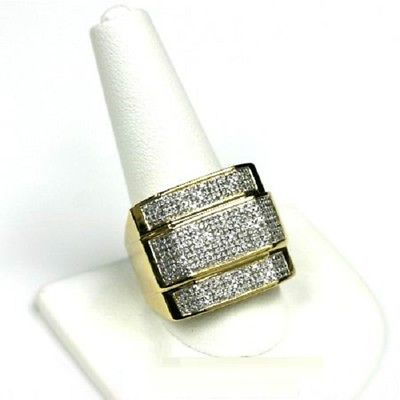 Yellow Gold Over Lab Diamond Mens Engagement Pinky Ring Wedding Band 3.00 Ct