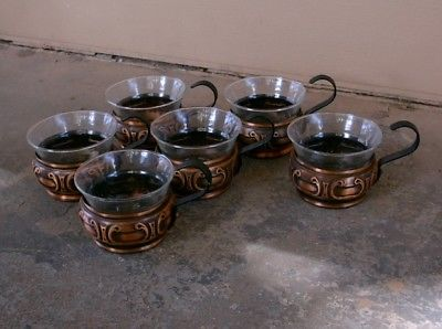 Set of SIX COPPER GLASS HOLDERS with Handles; with Glasses