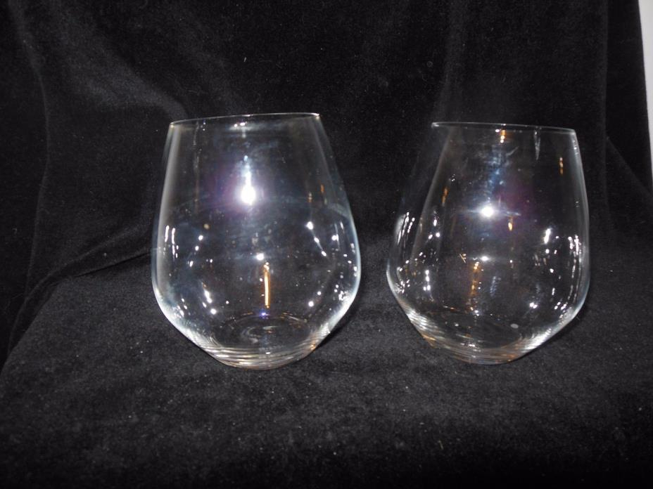 Riedel Crystal Vivant Pinot Noir Stemless Wine Glasses Mint Condition Set of 2
