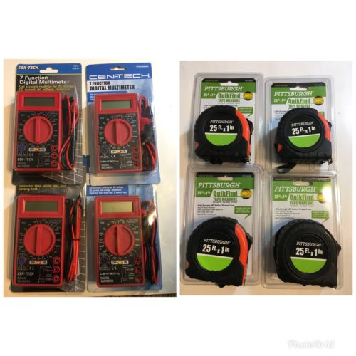 "Lot Of 4 Pittsburgh 25ft X 1"" Quick Find Tape Measure 4 Cen-Tech Multimeter New"