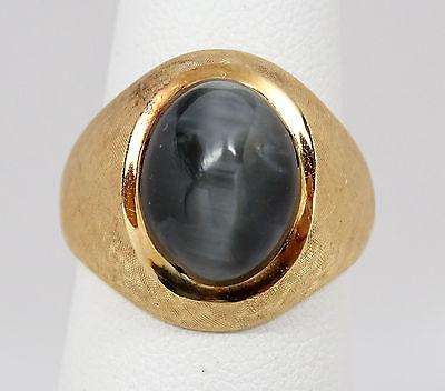 Vtg Men's 18K Yellow Gold 8 carat Gray Cat's Eye Beryl Ring, 13g, Sz 7.75