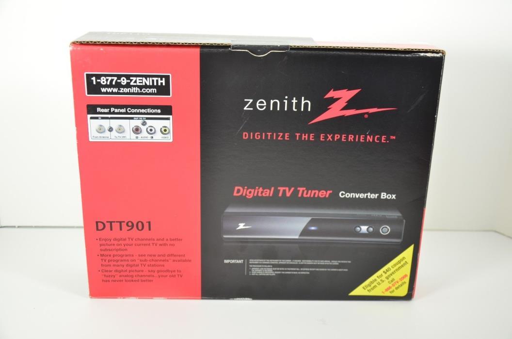 ZENITH DTT901 DIGITAL TV TUNER CONVERTER BOX (NEW IN OPENED RETAIL BOX)