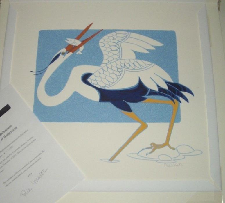 Rie Munoz limited edition print Crane serigraph silk screen
