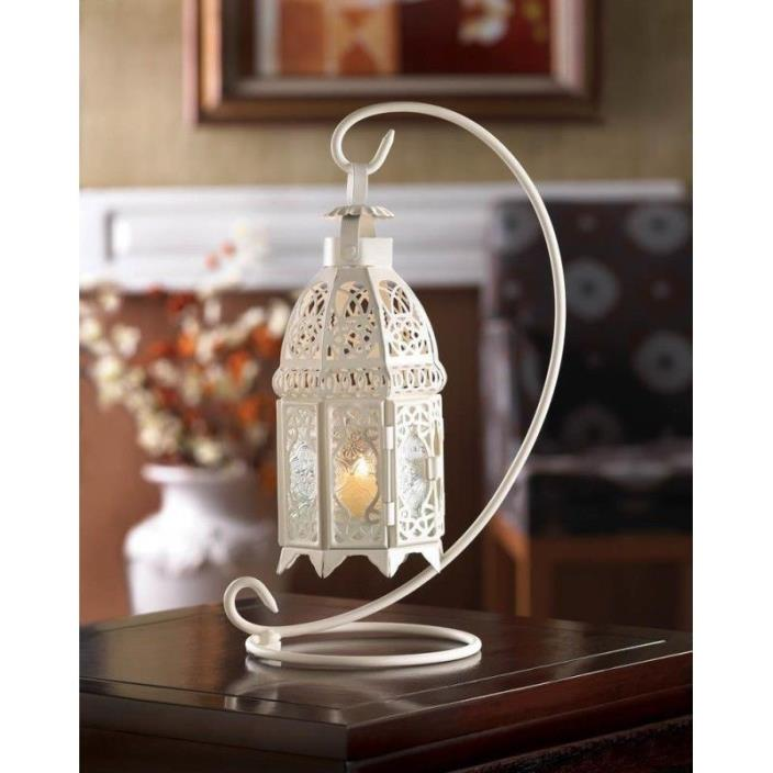 Set of 6-White Fancy Wedding Candle Lanterns With Stands