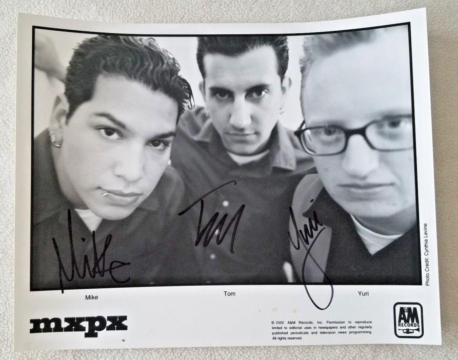 MXPX Band Signed 8x10 Photo 2002 Autographed Black and White Promotional