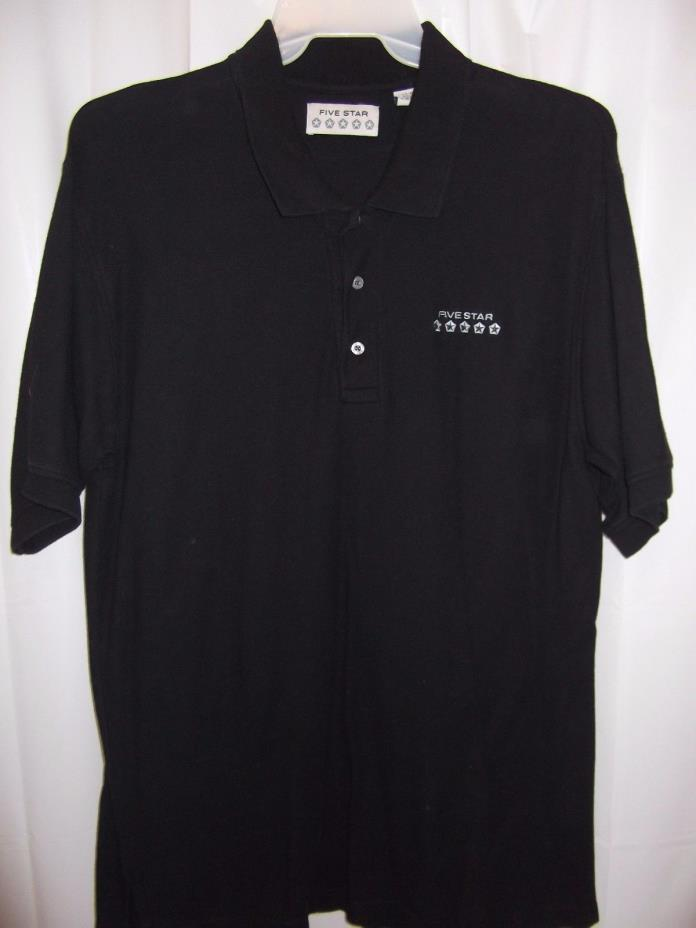 Mens Chrysler Five Star Shirt Black Polo Style 5 Star Label Large