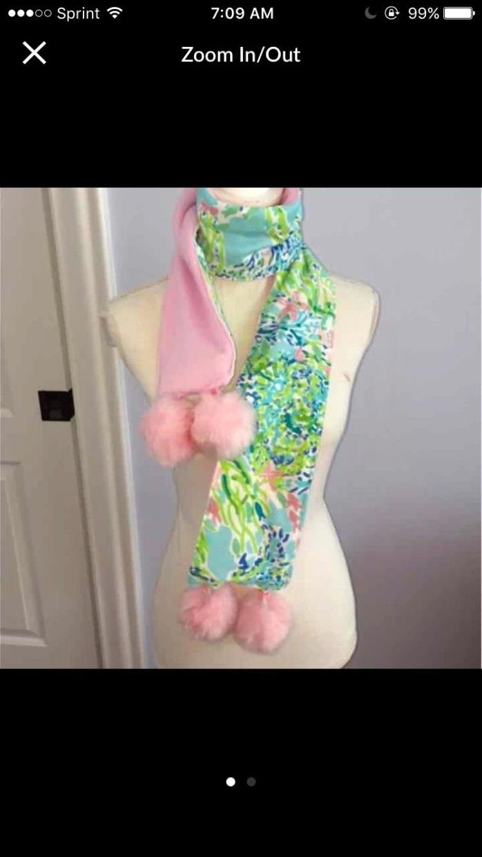 Lilly Pulitzer Blue Heaven fabric Fleece Pompom Scarf