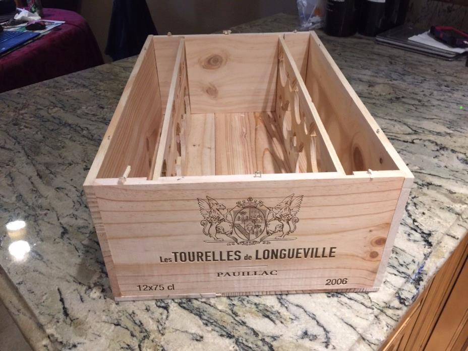 CH LES TOURELLES DE LONGUEVILLE 2006 FRENCH WOOD WINE CRATE 19 7/8