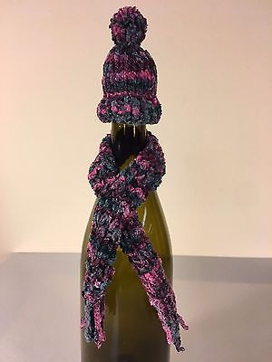 Hat & Scarf Wine Bottle Decoration Pink, Purple, Blue One-of-a-Kind/Handmade