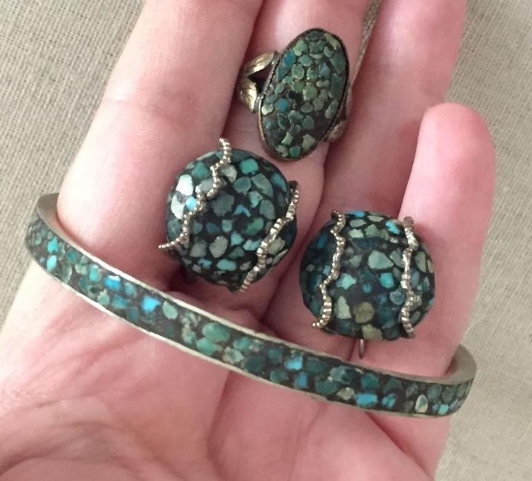 Vintage 1940's 50's Crushed Turquoise Bracelet Earrings Ring Set from India