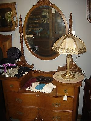 Antique Quarter-Sawn Oak Ornate Dresser with Oval Mirror.   7566