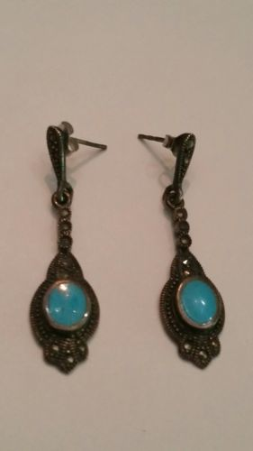 Sterling Silver Earrings Turquoise Blue Enamel Dangle 925 Jewelry