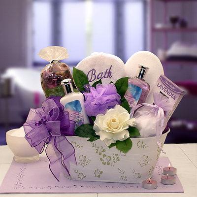 Tranquil Delights Lavender Bath & Body Gift Basket - ladies purple birthday love