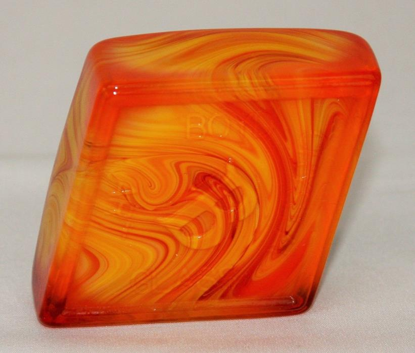 Boyd Crystal Art Glass Diamond Logo Paperweight ~ Persimmon Slag